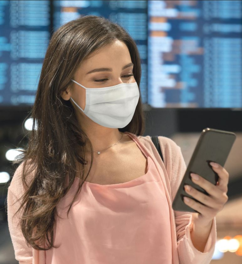 traveler mask airport phone