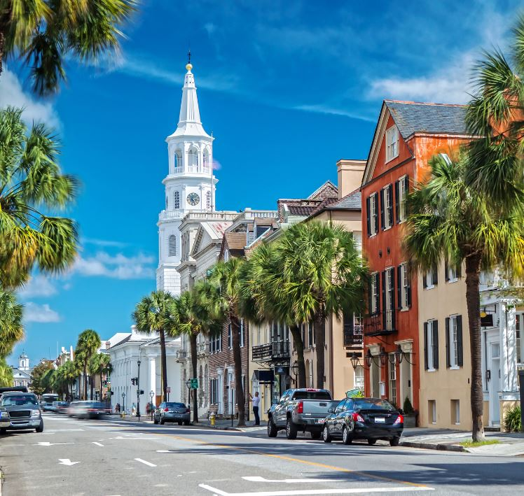 view of a street in charleston