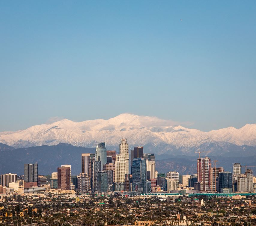 view over downtown LA towards the mountains