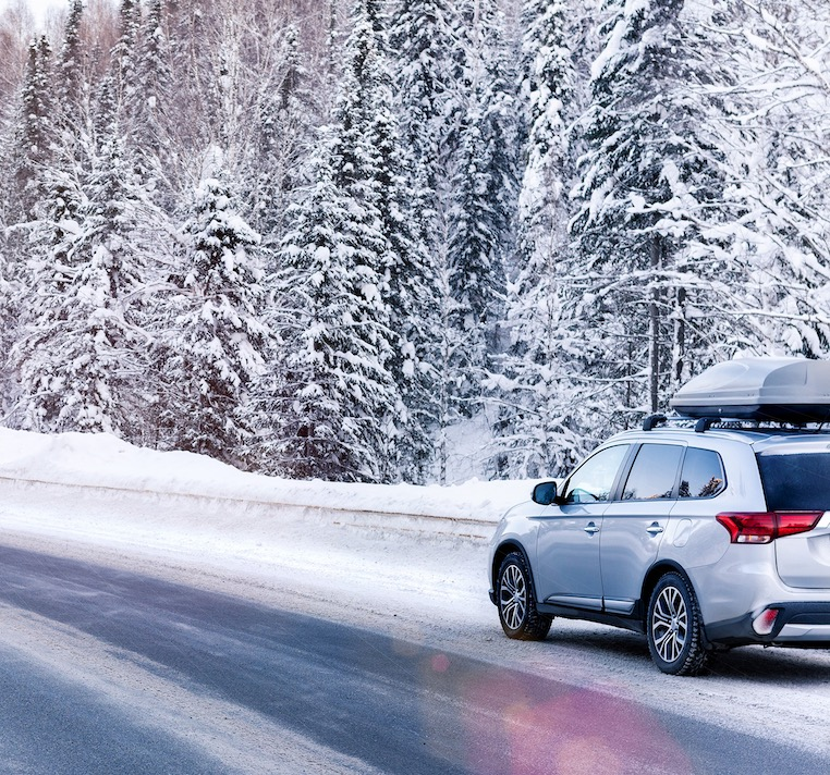 winter road trip SUV