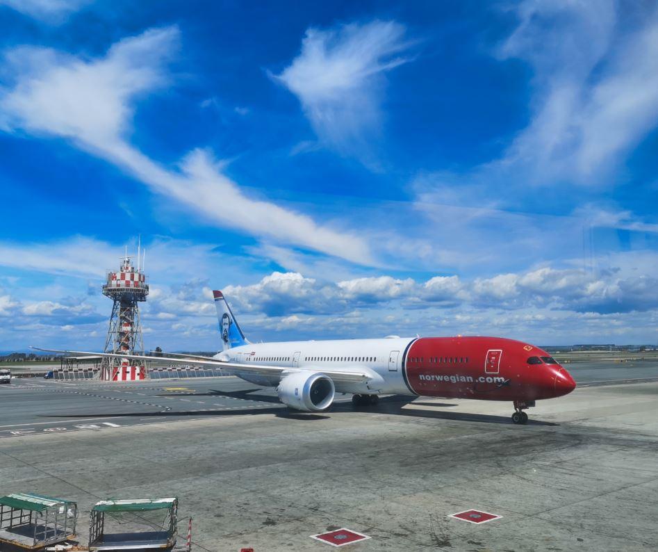 Norwegian plane at Rome airport