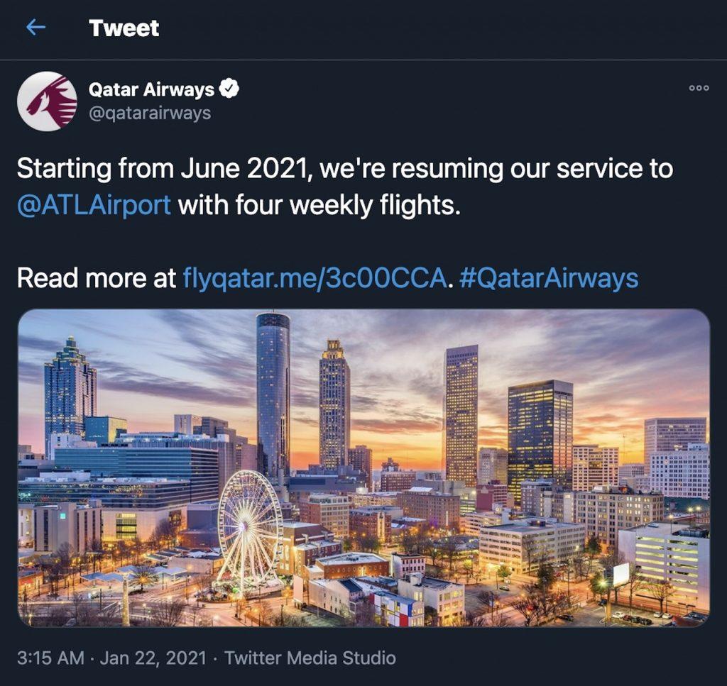 Qatar Airways twitter announcement