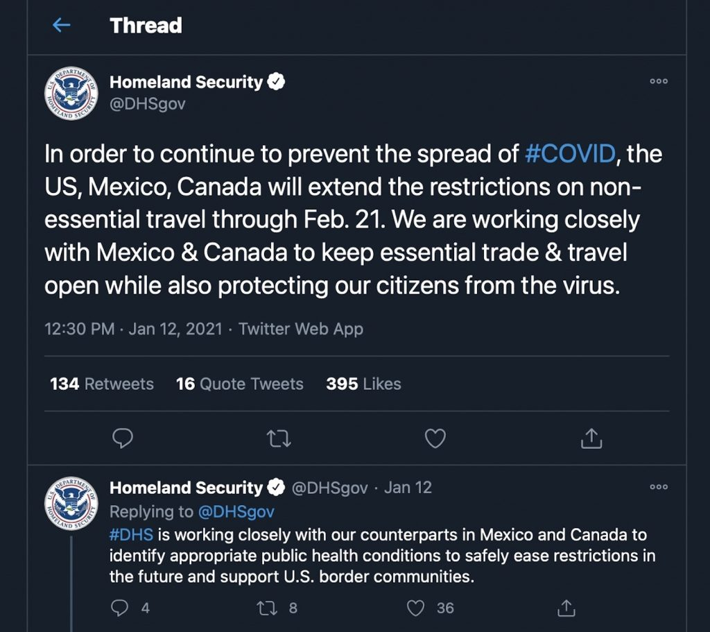 US homeland security twitter announcement