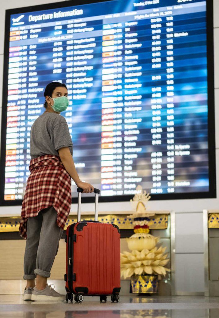Woman At Airport luggage in mask
