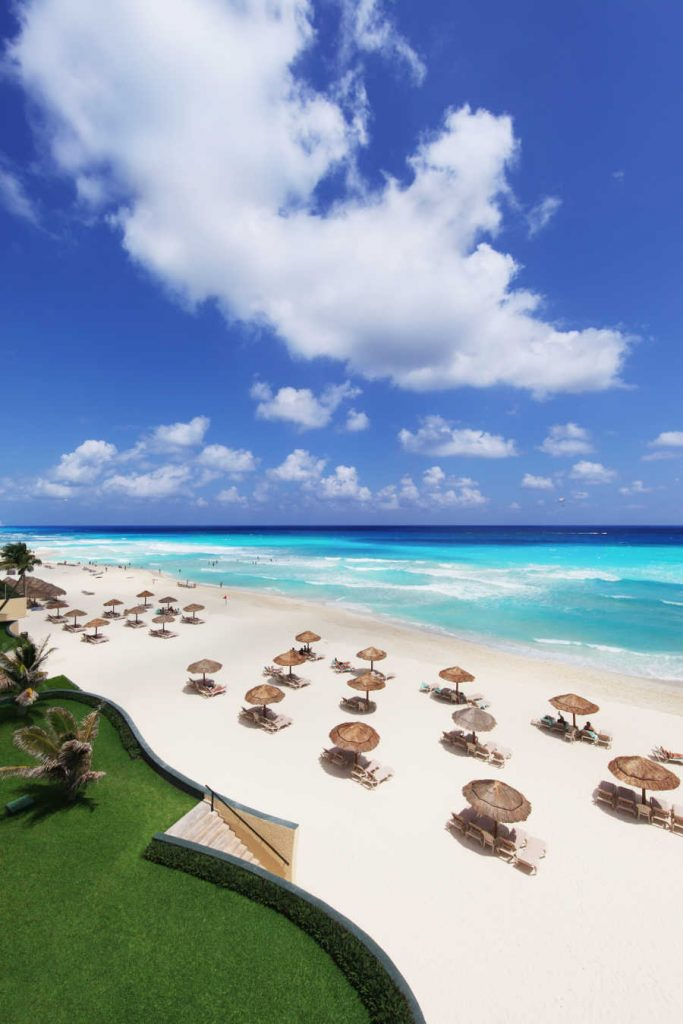 cancun resort beach umbrellas