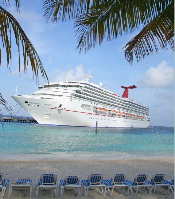 carnival cruise ship from caribbean beach