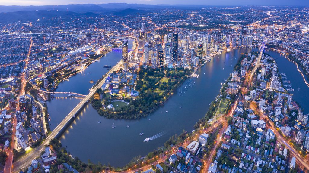 Brisbane Skyline Night Panorama, Australia