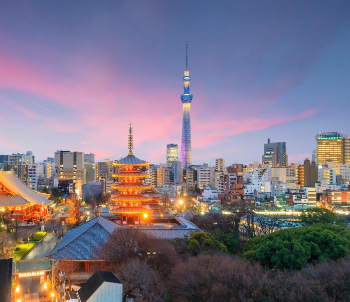 japan view temple dawn tokyo