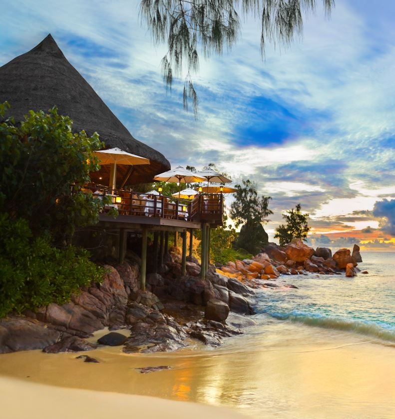 Seychelles cafe on oceanfront