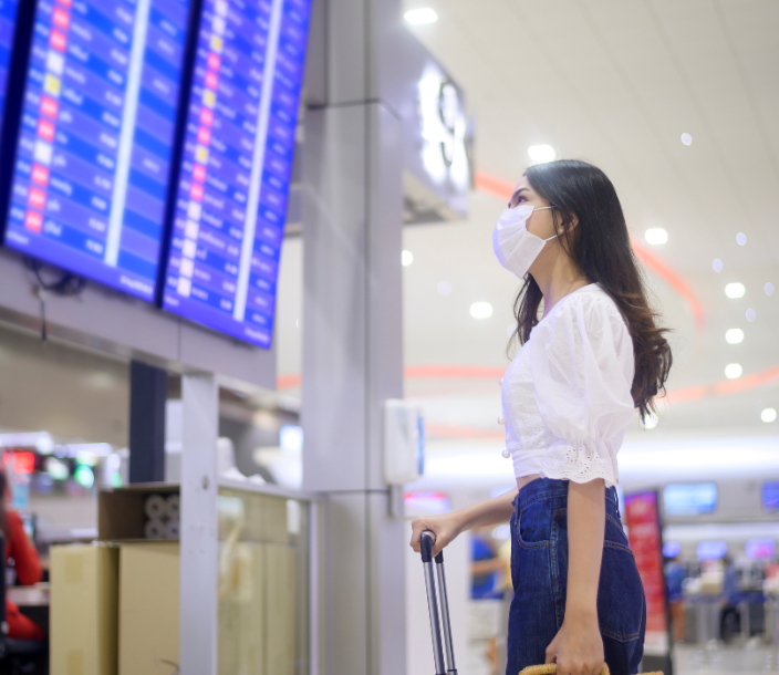 travel checking departure board mask