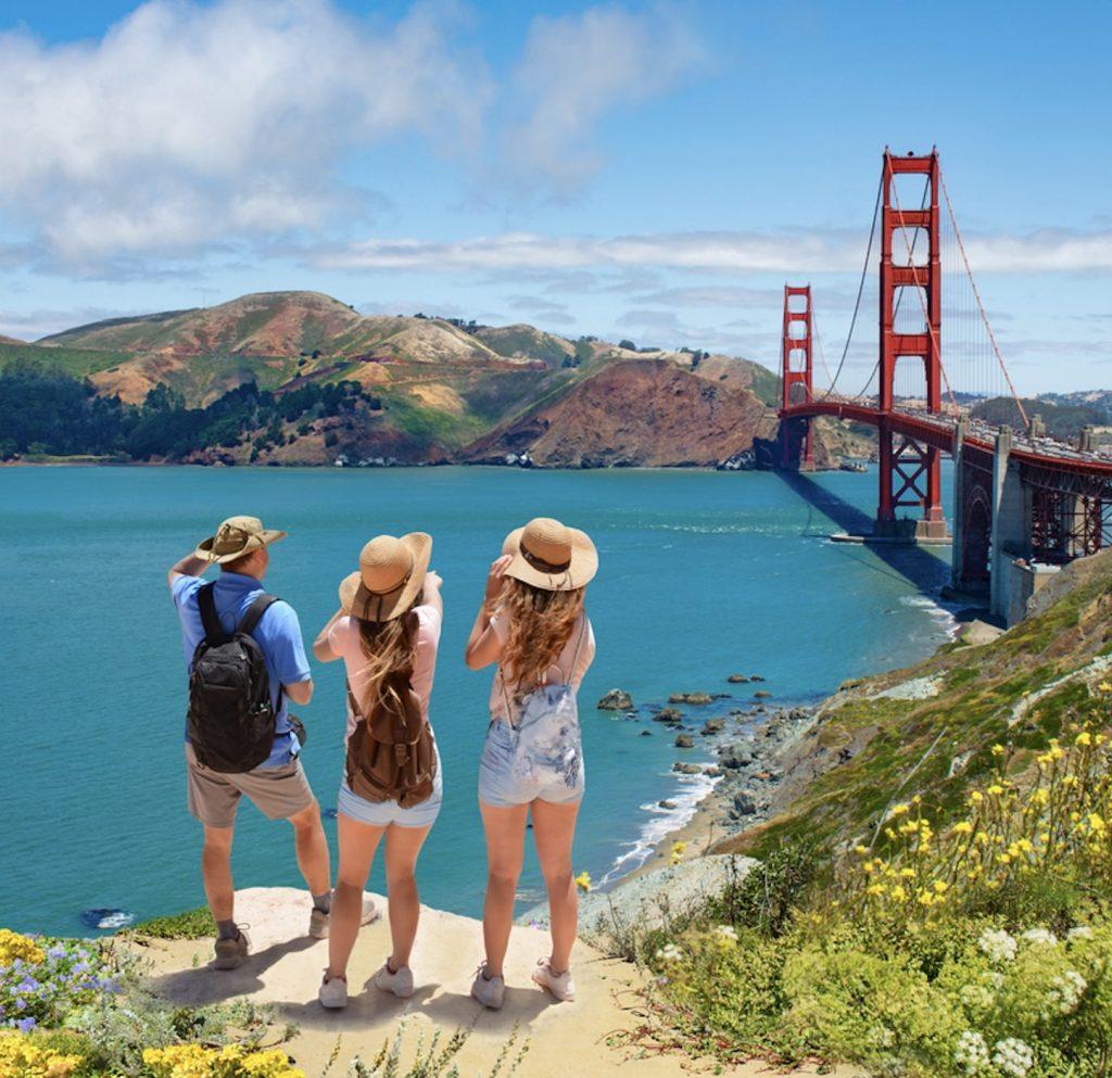 travelers at Golden Gate bridge, San Francisco