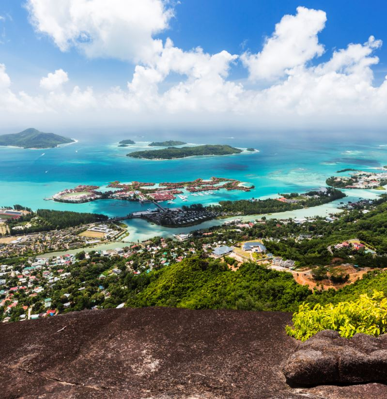 view over city in Seychelles