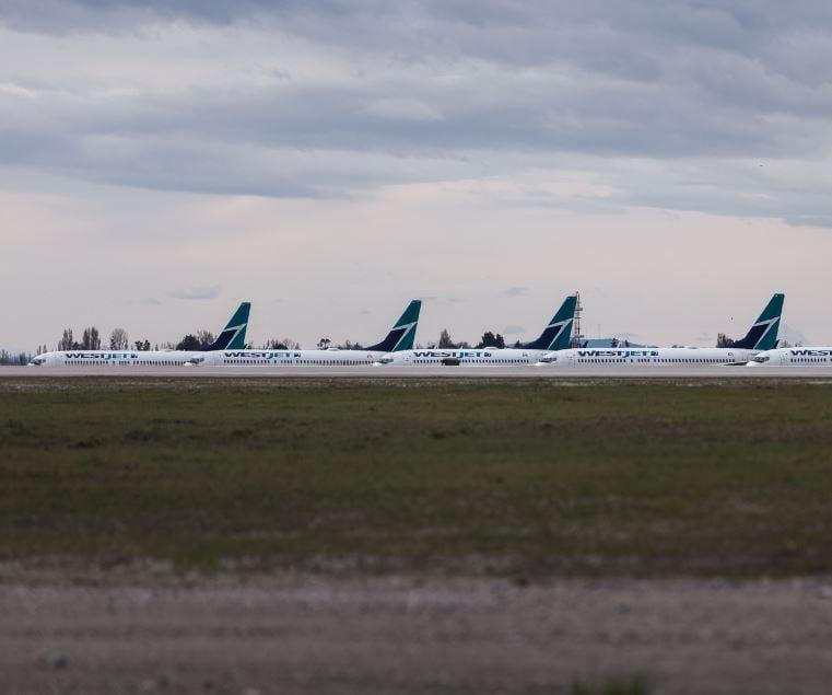 westjet planes parked at airport