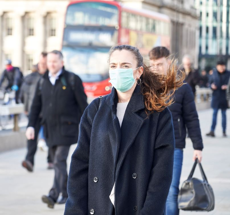 woman wearing mask in london