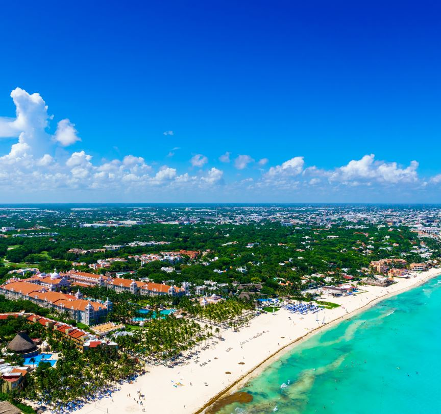 Aerial View of hotels in The Mexican Caribbean