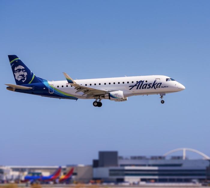 Alaska Airlines plane Los Angeles, California