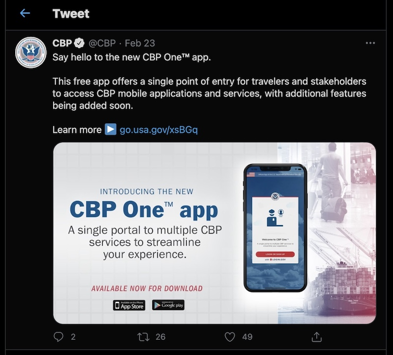 CBP One App Twitter