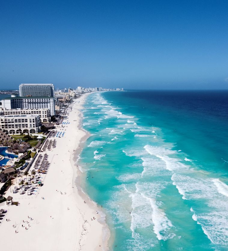Cancun Beach Aerial View