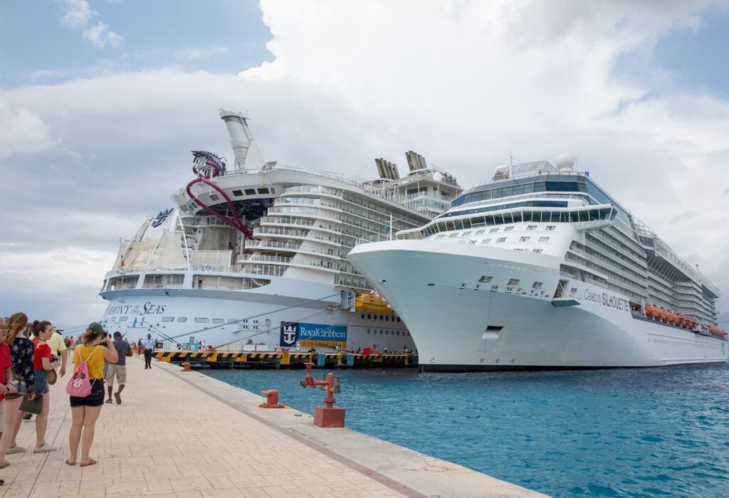 Royal Caribbean and Celebrity cruise ship docked in Cozumel