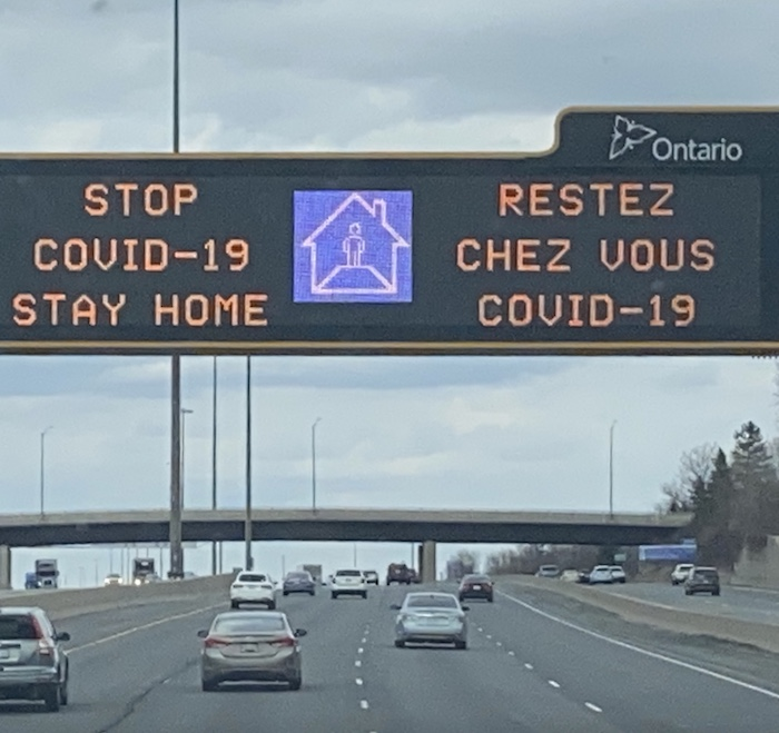 Stay home sign Canada