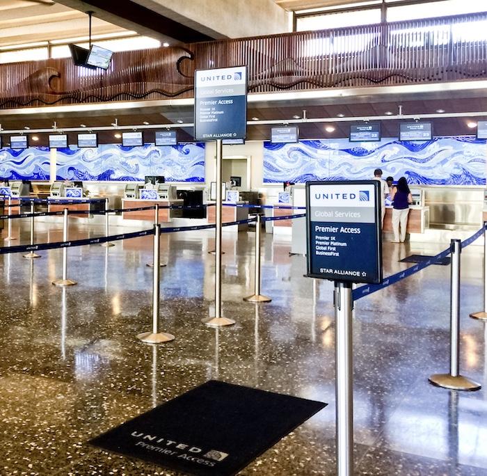 United Airlines checkin Honolulu Airport Hawaii