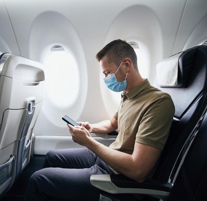 passenger on flight mask