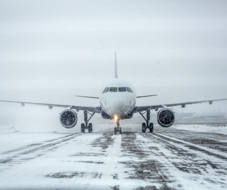 plane runway snow