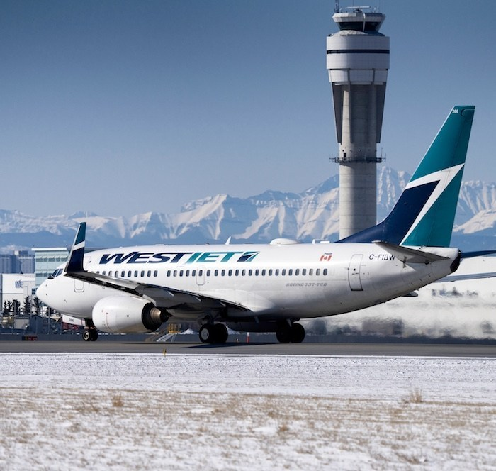 Westjet plane taking off
