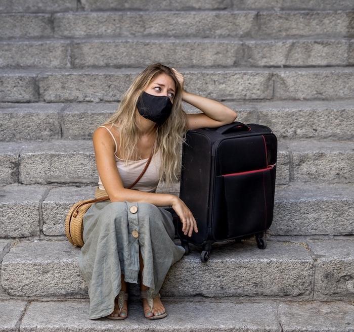 worried traveler mask