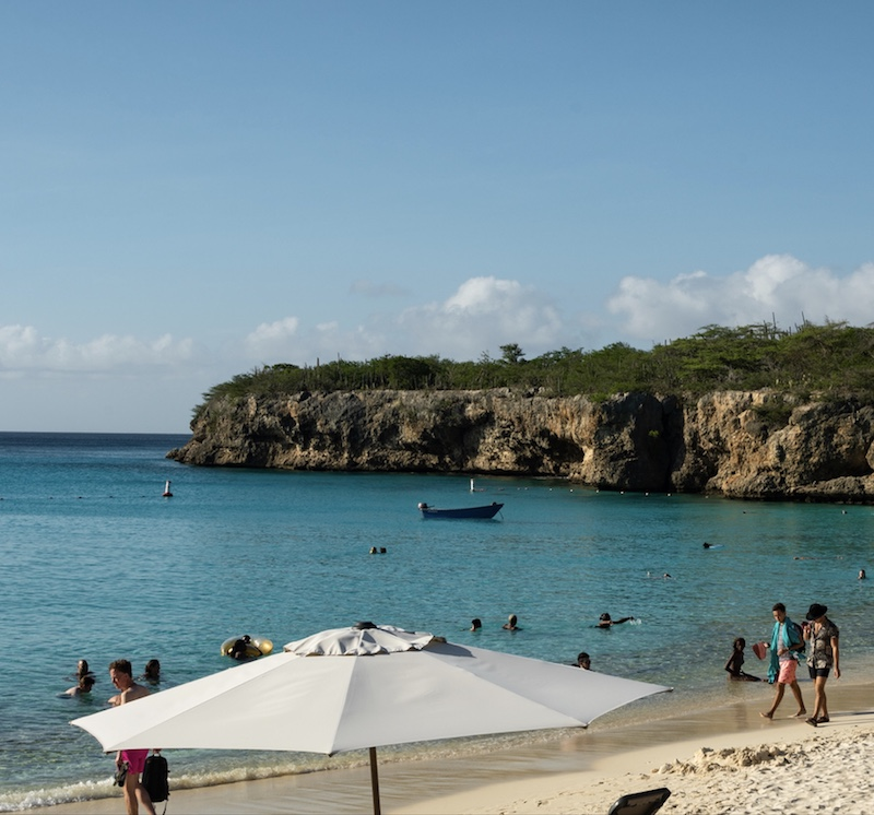 Beachgoers at Grote Knip beach in Curaçao