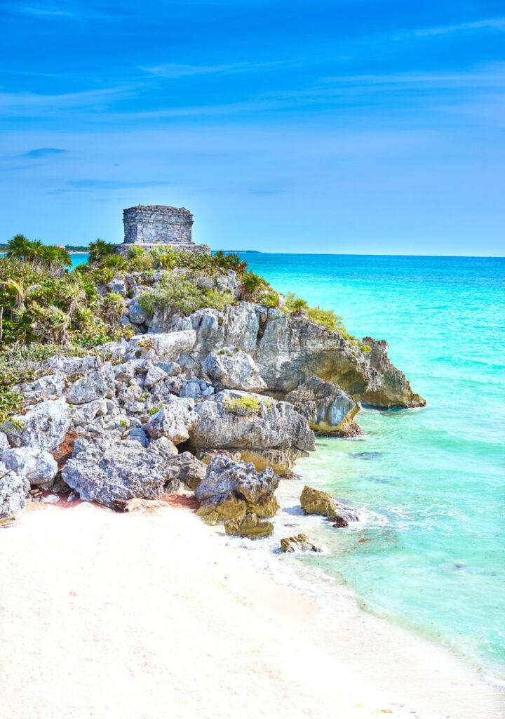 Caribbean Cost in Quintana Roo White Sand Beach