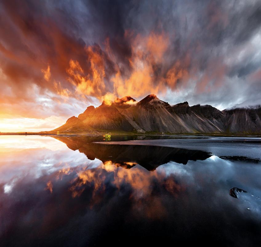 Iceland mountain sunset water