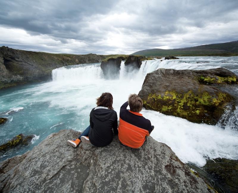 Iceland waterfalls tourists