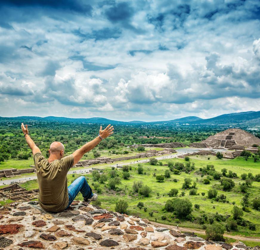 Mexico Traveler at ancient ruins