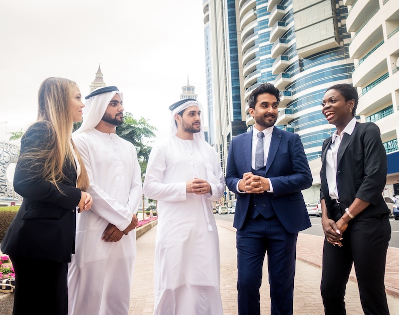 Multi-ethnic group of people on a business meeting in the UAE