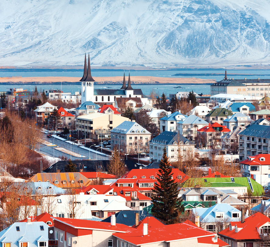 Reykjavik brightly colored town