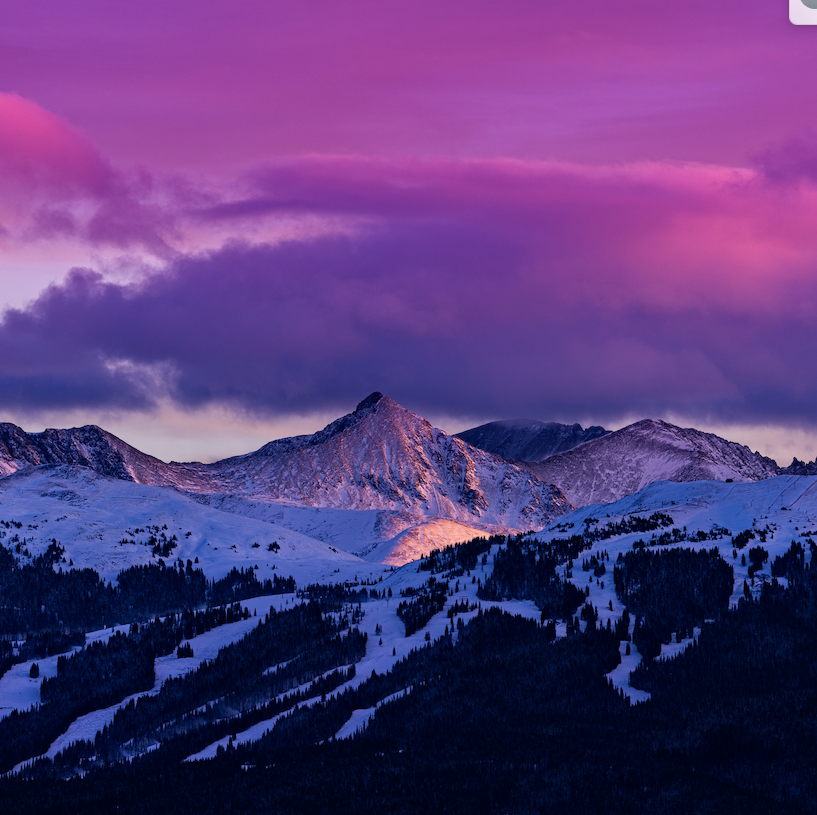 mountain sunset snow