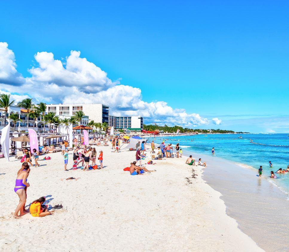 Tourists on Beach in Playa Del Carmen