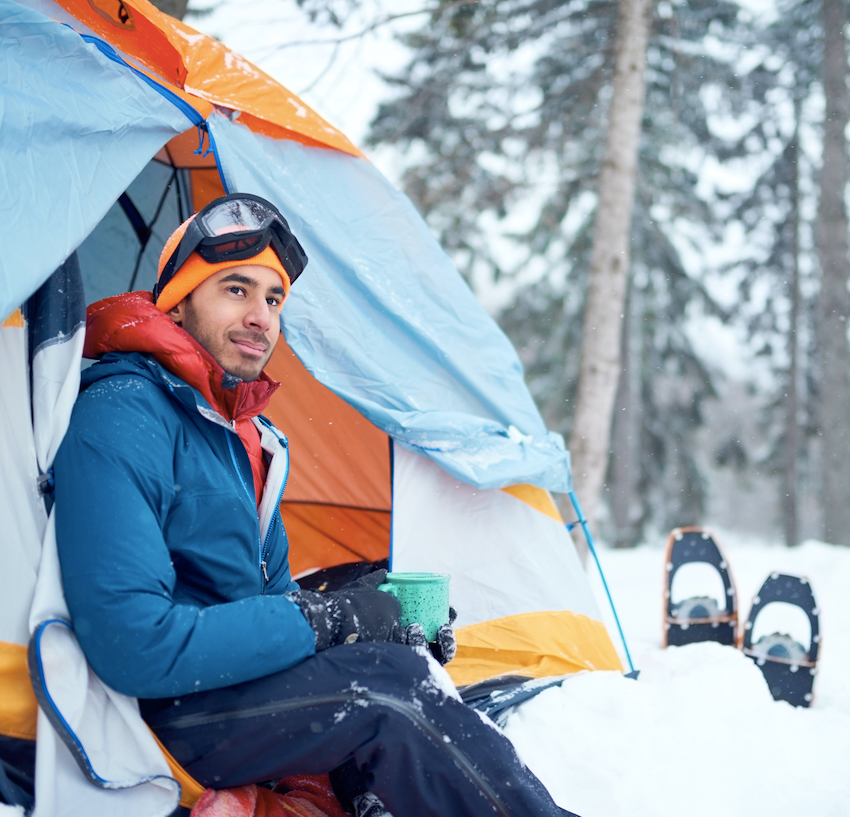 Winter camping snowshoe
