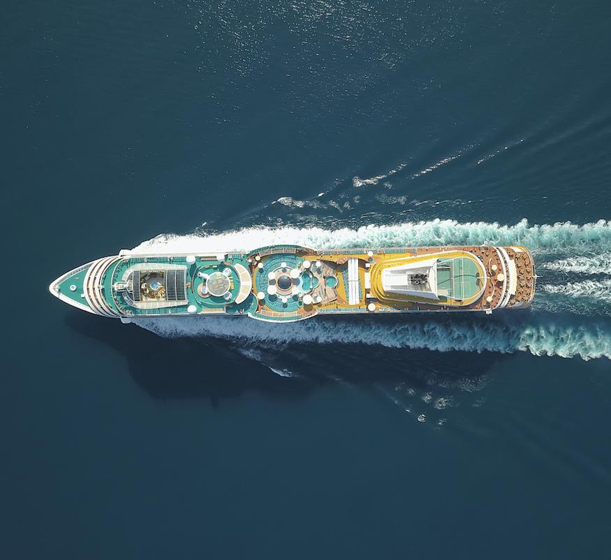 cruise ship aerial ocean