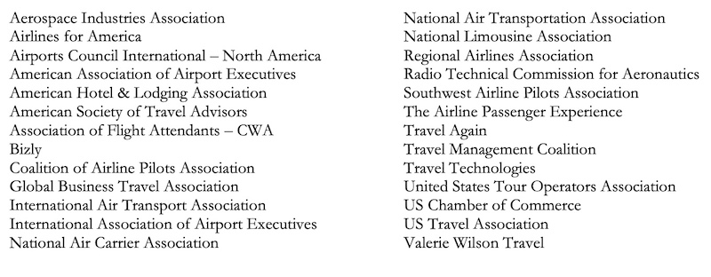 letter to the Whitehouse from Aviation Industry