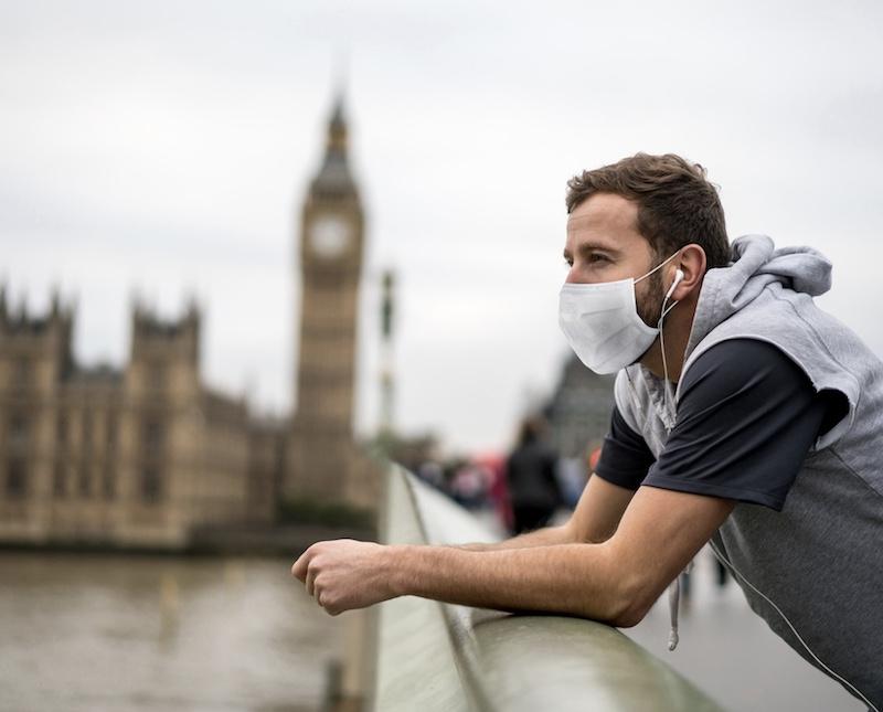 man wearing face mask in London