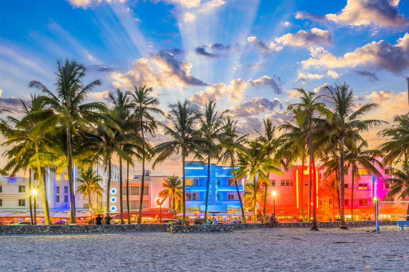 Miami Beach, Florida on Ocean Drive.