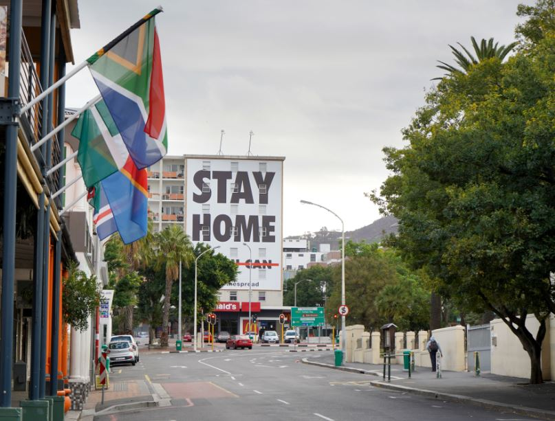 south africa stay home sign