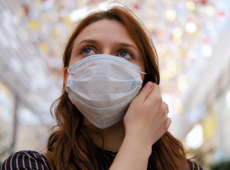 woman wearing face mask during pandemic