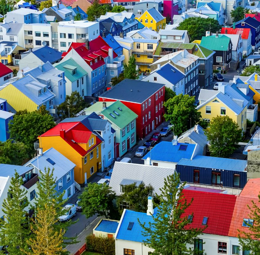 Colorful Red Green Blue Yellow Houses Cars Streets Reykjavik Iceland.