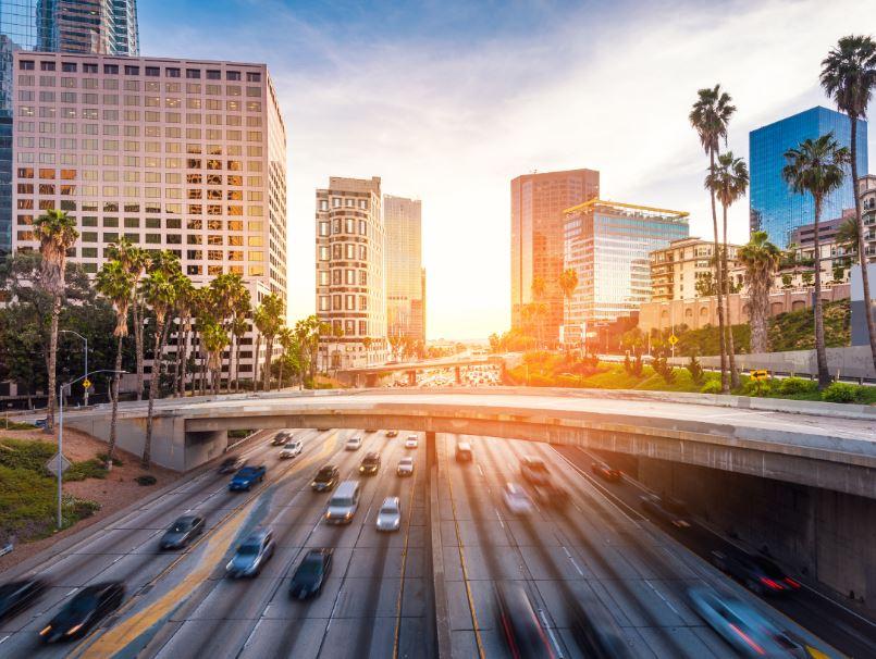 LA downtown traffic