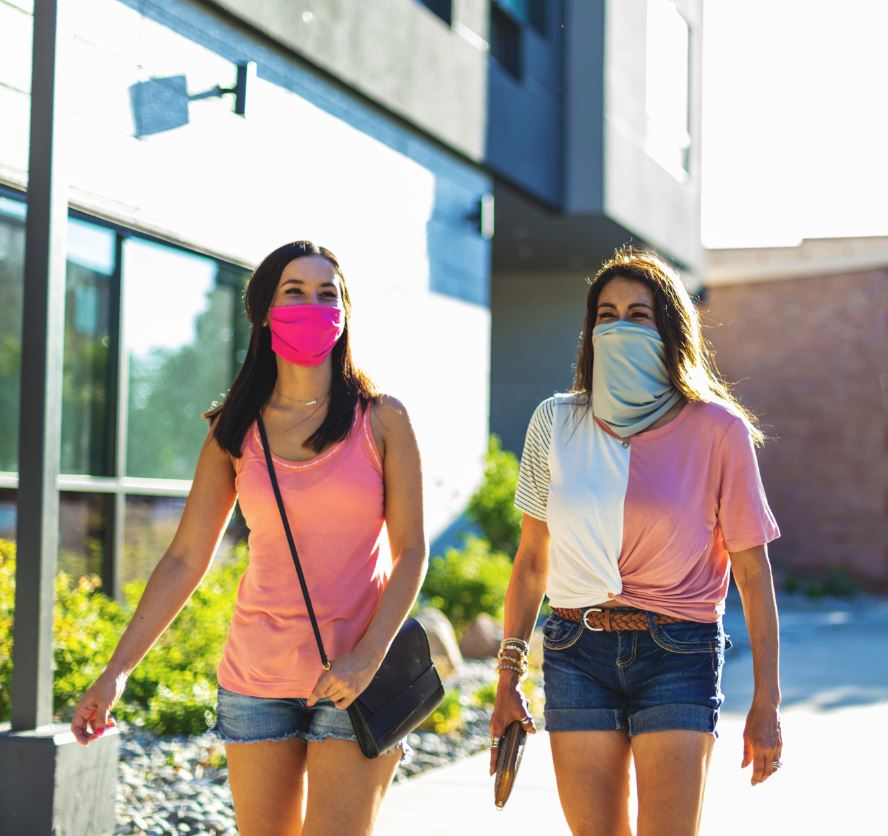 Women wearing masks in Western Colorado