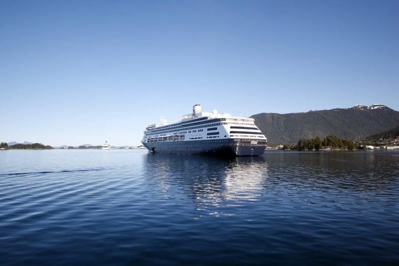 A Holland America Line Cruise Ship in Cresent Bay  Alaska