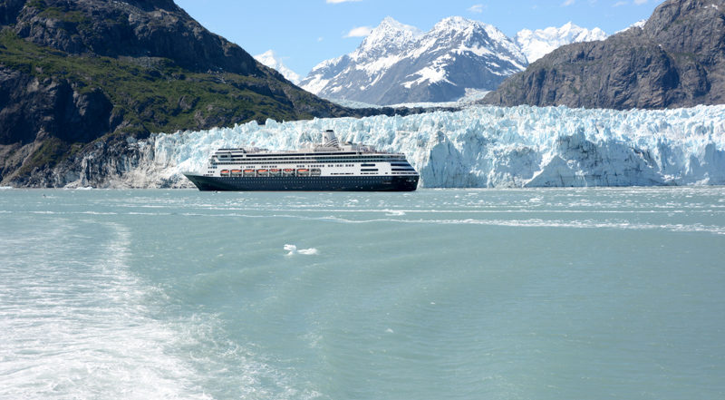 Cruise ship docking in Glacier National Park, Alaska
